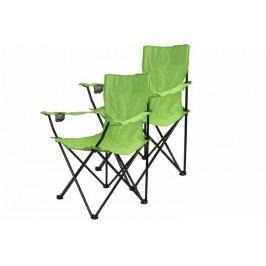 Kempingová sada - 2 x skladacia stolička s držiakom - sv.zelená