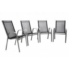 Set 4 ks záhradná stohovateľná stolička – antracit