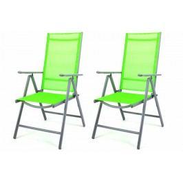 Sada 2 hliníkových skladacích stoličiek Garth - zelená