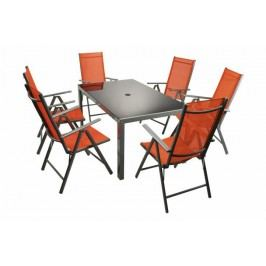 Moderná sada záhradného nábytku Garth 7 ks – oranžová