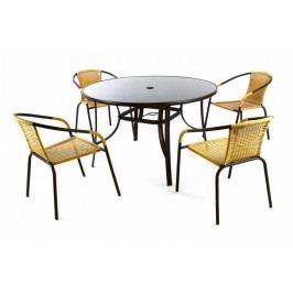 Záhradný polyratanový set Bistro so skleneným stolom - béžová