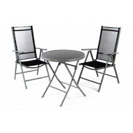 OEM D36492 Záhradný balkónový set stoličky a stôl - čierne