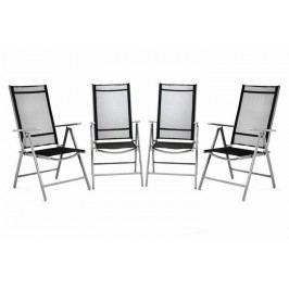 Sada 4 kusov hliníková skladacia stolička Garth - čierna