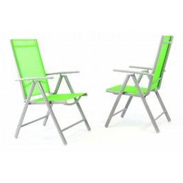 Sada 2 kusov hliníkových polohovateľných stoličiek - zelená