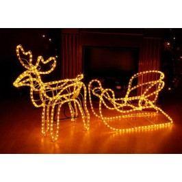 Svetelná dekorácia - vianočný sob, 140 cm, teple biely
