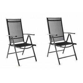 Sada 2 ks záhradných polohovateľných stoličiek - čierna