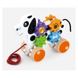 Viga Ťahací psík s ozubenými kolieskami / drevené hračky