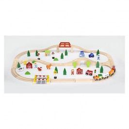 Viga Drevená vláčiková sada - 90 ks / drevené hračky