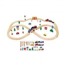 Viga Drevená vlaková súprava - 49 ks / drevené hračky