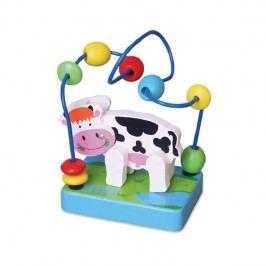 Viga Mini korálková hračka - Kravička / drevené hračky