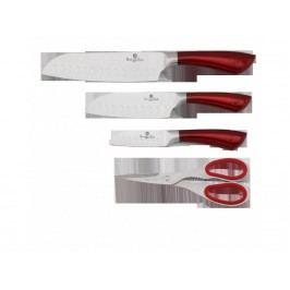 Nože nerez 4 dielna sada - červená, BH-2055
