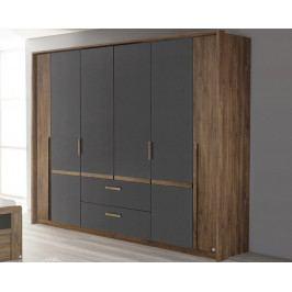 Bernau, 226 cm, dub stirling/šedá, otočné dvere