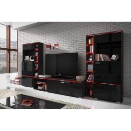Obývacia stena anton 10 čierny laminát/čierny lesk 22wu24