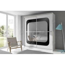 Skriňa mediolan bielo/čierno sklo