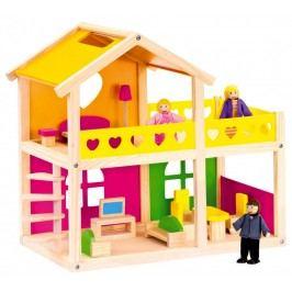 BINO - 83553 Drevený domček pre bábiky so zariadením