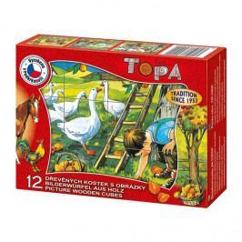 DINOTOYS - Drevené kocky Na farme 12 ks