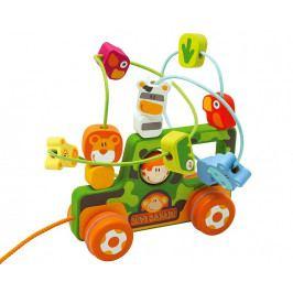 SEVI - Drevená hračka so slučkami a kolieskami 2v1 - Safari