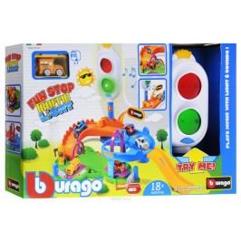 BBURAGO - Fun Stop Trafic Light Play Set s jedným autíčkom 30111