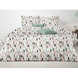 Mistral Home povlečení 100% bavlna Feathers korálová/zelenkavá - 140x200 / 70x90 cm