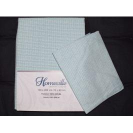 Homeville povlečení 100% bavlna Lida mátová 140x200cm+70x90cm