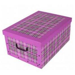 Home collection Úložné krabice se vzorem Kostka 51x37x24cm sytá růžová