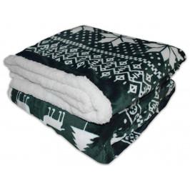 Homeville deka mikroplyš s beránkem 150x200 cm Zimní motiv zelený