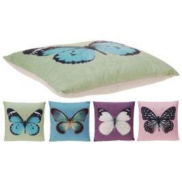 Home collection Dekoračný vankúšik motýliky 45x45 cm - růžová