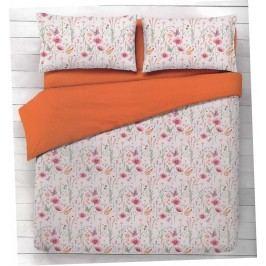 Gipetex Natural Dream Talianske obliečky 100% bavlna Flora oranžová - 140x200cm / 70x90cm