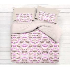 Gipetex Natural Dream Talianske obliečky 100% bavlna LUX Acquarello fialková s dvomi obliečkami na vankúš - 140x200 / 50x70 + 70x90