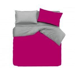 Gipetex Natural Dream Talianske obliečky 100% bavlna LUX Doubleface fuchsia-šedá - 140x200cm / 70x90cm