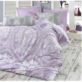 Homeville Obliečky 100% bavlna Adeline šedo/fialová s dvomi obliečkami na vankúš - 140x200 / 50x70 + 70x90