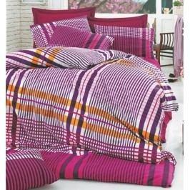 Homeville Obliečky 100% bavlna Emma fialková káro s dvomi obliečkami na vankúš - 140x200 / 50x70 + 70x90