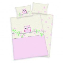 Herding Obliečky pre bábätká sovička ružová 135x100,40x60
