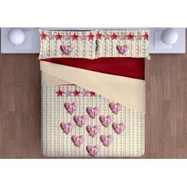 Gipetex Natural Dream 3D talianske obliečky 100% bavlna Srdiečka, digitálna tlač - 140x200cm / 70x90cm