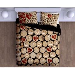 Gipetex Natural Dream 3D talianske obliečky 100% bavlna Catasta Tronchi-polienka&srdce - 140x200cm / 70x90cm
