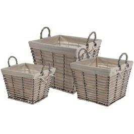 Home collection Home collection Sada 3 košíkov vyložených látkou - hranaté