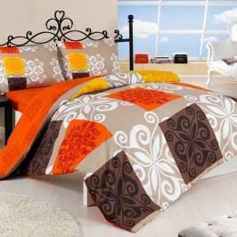 Bedtex bavlna obliečky Sedef oranžová, 160 x 200 cm, 2ks 70 x 80 cm