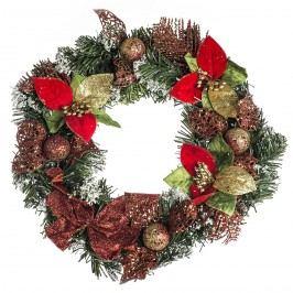HTH Ozdobený vianočný veniec pr. 30 cm červená