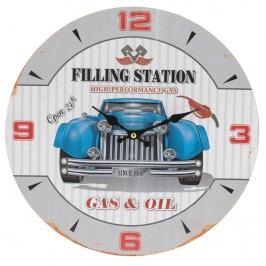 Nástenné hodiny Modré auto, priemer 33 cm