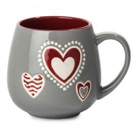 Porcelánový hrnček Srdce, sivá, 500 ml
