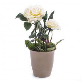 Umelá kvetina ruža v kvetináči, smotanová, HTH