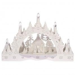 Vianočný LED svietnik Zimná krajina, koledníci pred kostolom, 35 x 23 x 7,5 cm