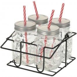 4-dielna sada pohárov s viečkom a slamkami