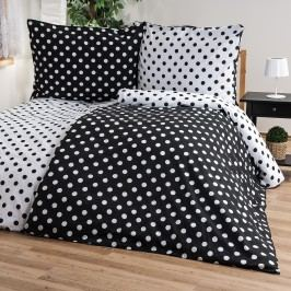 Bavlnené obliečky Čierna bodka, 140 x 220 cm, 70 x 90 cm