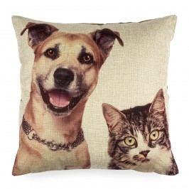 Obliečka na vankúšik Psík a Mačička, 45 x 45 cm