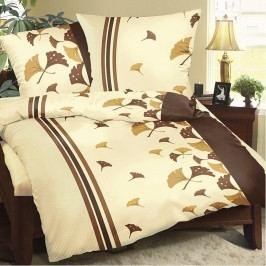Obliečky bavlna Hnedé vejáriky, 140 x 200 cm, 70 x 90 cm