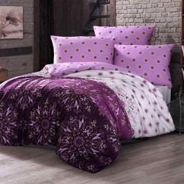 Night in Colours Bavlnené obliečky Alberica fialová, 140 x 200 cm, 70 x 80 cm