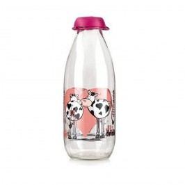 Fľaša na mlieko Funny Cow, 1 L, ružová