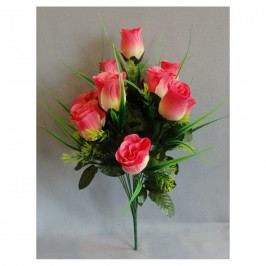 Umelá kytica Ruže ružová, 42 cm
