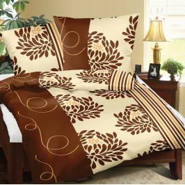 Bellatex Bavlnené obliečky Chryzantéma hnedá, 140 x 200 cm, 70 x 90 cm, 140 x 200 cm, 70 x 90 cm